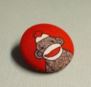 sock monkey button from pandacub