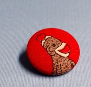 sock monkey brooch